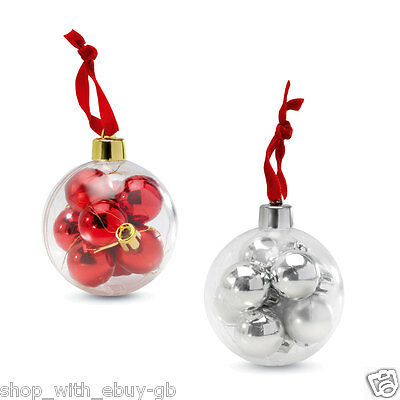 SILVER /& RED CHRISTMAS DECORATIONS BN PACK OF 8 MINI BAUBLES IN A LARGE BAUBLE