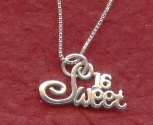 Sweet-16-Necklace-Sterling-Silver-Solid-925-Pendant-n-Chain-16th-Birthday-gift