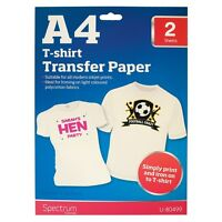 T-SHIRT TRANSFER PAPER A4 SHEETS INKJET PRINTERS & LIGHT FABRICS COLOUR IMAGES