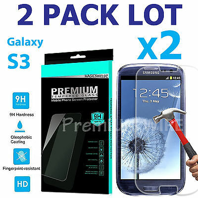 2-Pack Premium Tempered Glass Screen Protector Film For SAMSUNG Galaxy S3 i9300