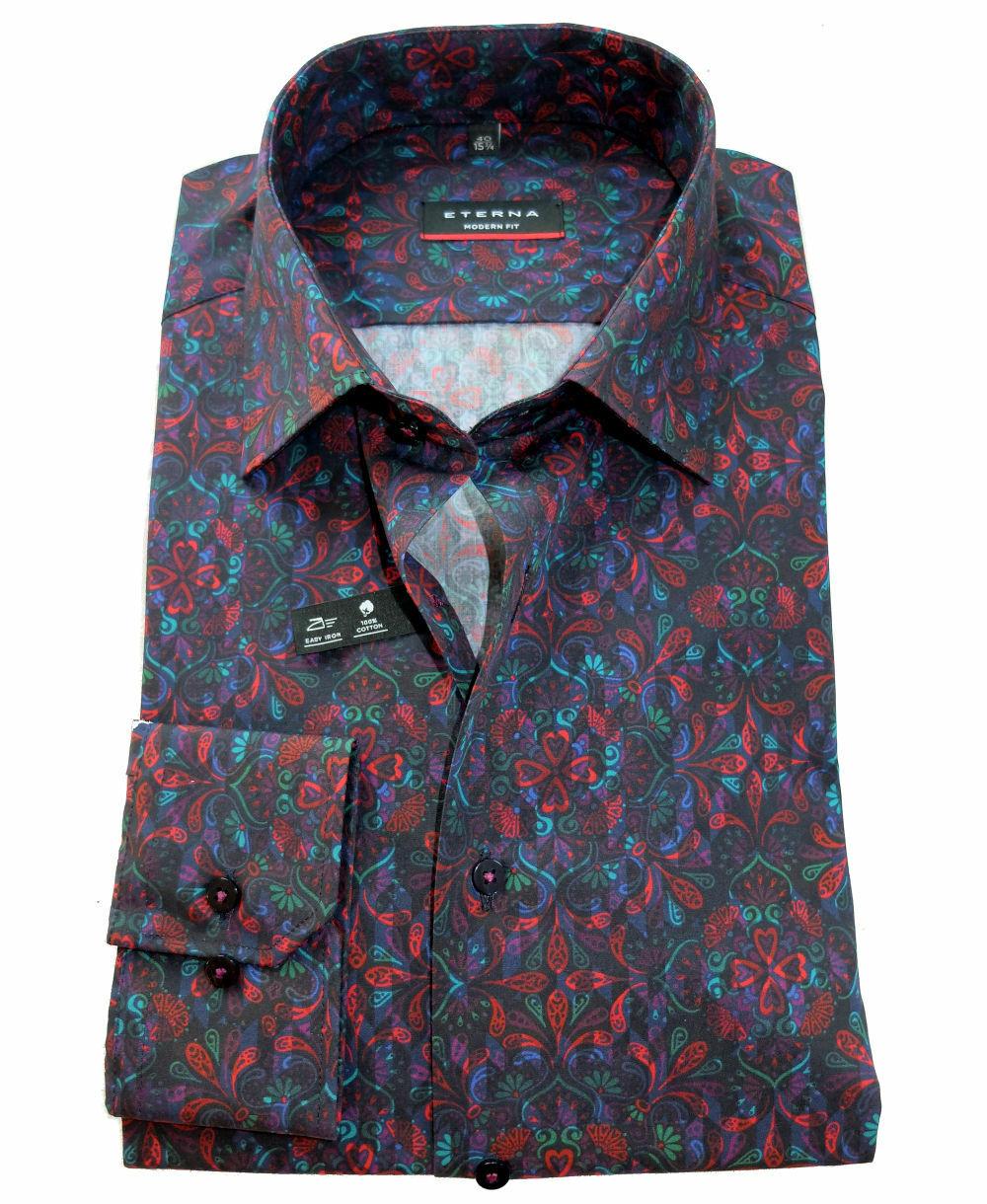 Langarmhemd eterna Modern Fit dunkelblau mit multiFarbe Druck Business Freizeit