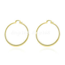 18K Yellow Gold Filled Korean Style 55mm Large FLAT Round Hoop Earrings H815G