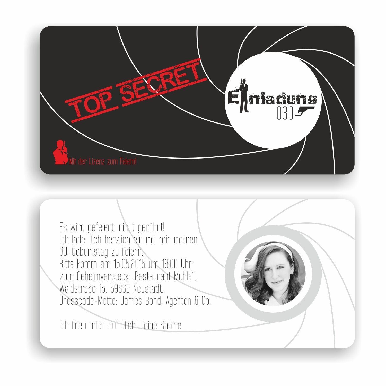 Einladungskarte Geburtstag Geburtstagskarte Agent Bond 007 Top Secret Motto E17