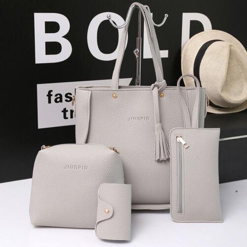 Details about  /Women Satchel Shoulder Messenger Handbag Leather Tote Satchel Clutch Purse Set