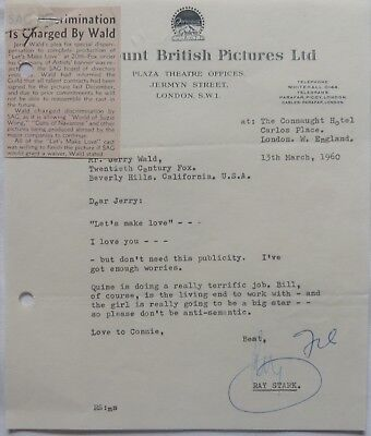 Paramount British Pictures Latest Fashion Fashion Style Ray Stark Signed Letter,1960