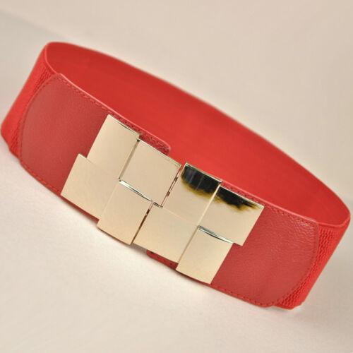 Girl Woman Elasticated Retro Style Wide PU Button Stretch Elastic Waist Belt Z