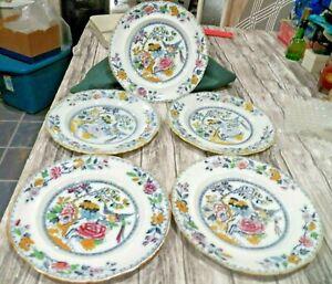 "Beautiful Rare Set of 5 Ashworth Bird of Paradise China Luncheon Plates 9 1/2"""