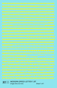 K4 HO Decals Yellow 1//8 Inch Modern Speed Letter Letter Number Alphabet Set