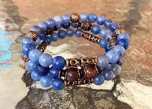 Image Is Loading Blue Aventurine Wrist Mala Beads Healing Bracelet Meditation