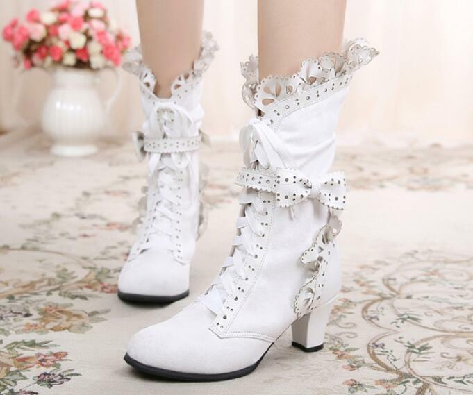 fashion Womens Riding Shoes Lace Up Mid Calf Boot Bowknot Block Heels Chunky new