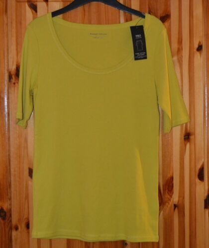 B30 LADIES SHORT SLEEVE M/&S TOP ROUND NECK SUNSHINE IN COLOUR SIZE 12