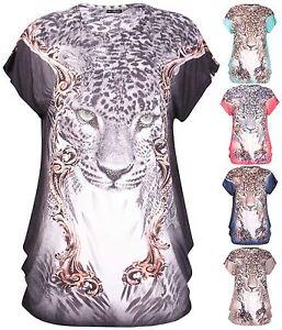 Womens-Plus-Size-Diamante-Stud-Leopard-Animal-Print-Cap-Sleeve-Ladies-Long-Top
