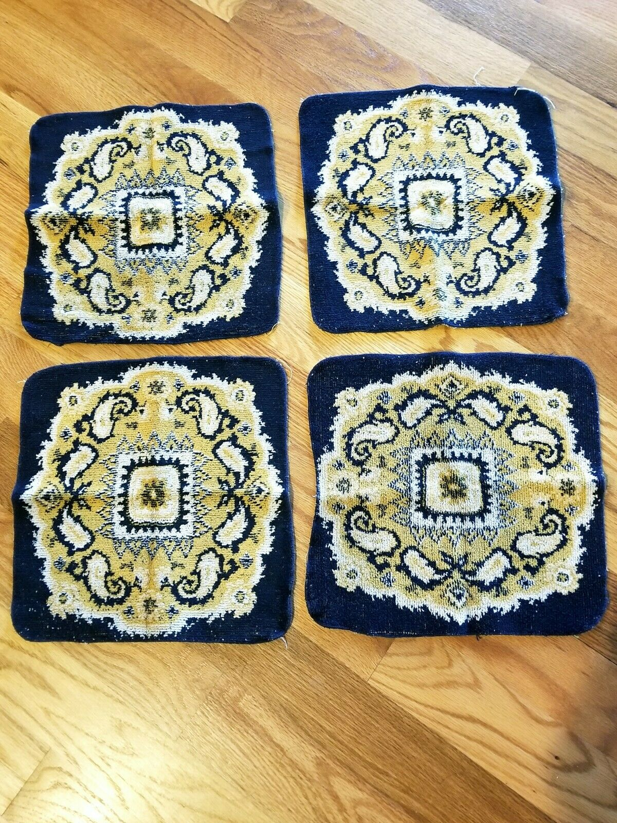 Vintage 70s MCM Pop Color Thick All Cotton Washcloths Fieldcrest 4 pc Set