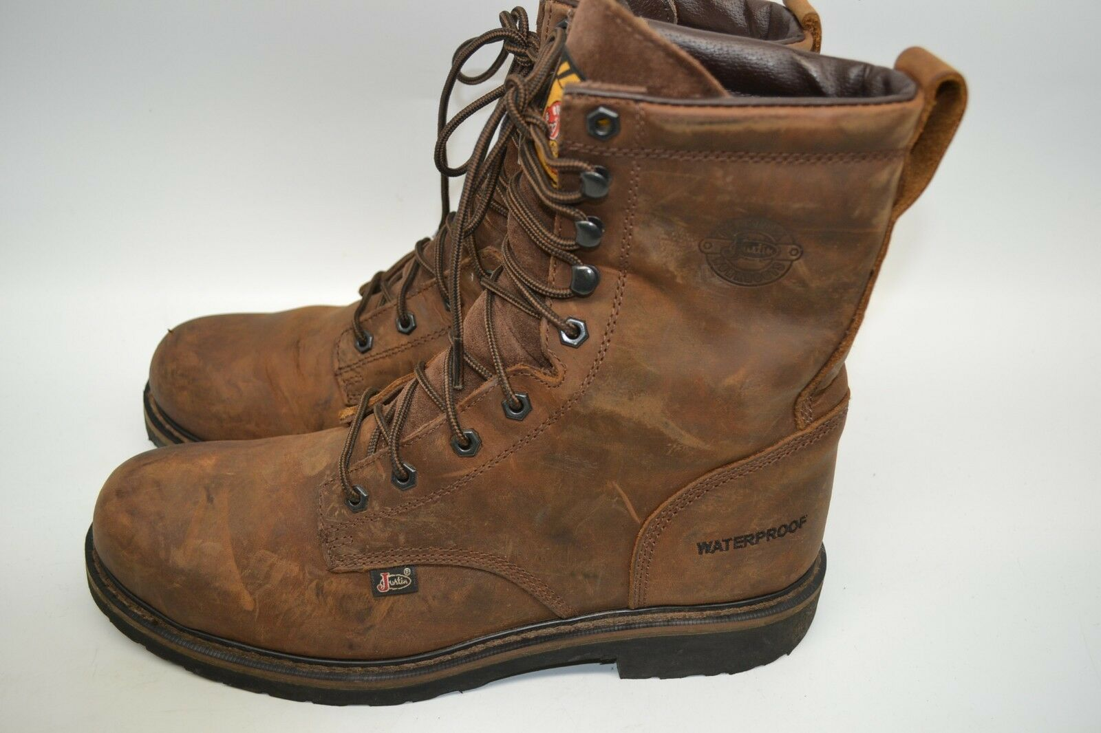 Justin Boots Men's 8   LACE UP WK961 Wyoming Waterproof Steel Toe Work SZ 11 D