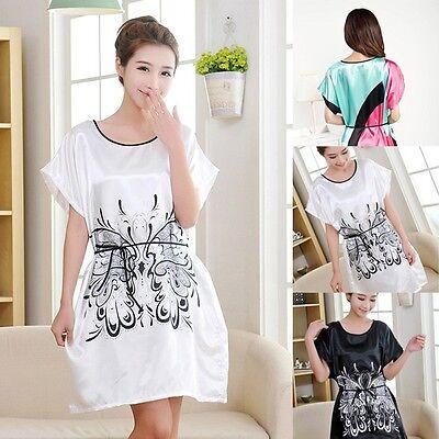 Casual Butterfly Robe Sleepwear Womens Imitated Silk Slim Fit Pajamas Home Dress