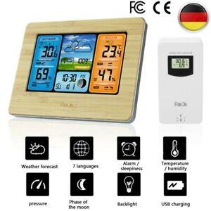 Funk-Wetterstation Mit Außensensor Farbdisplay Thermometer Hygrometer Barometer