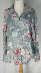 Carole-Little-Green-Pink-White-Floral-Oversized-Shirt-Top-Blouse-10-Rayon
