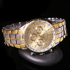 Fashion Mens Luxury Date Gold Dial Stainless Steel Analog Quartz Wrist Watches J