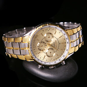 Fashion-Men-039-s-Luxury-Gold-Date-Dial-Stainless-Steel-Analog-Quartz-Wrist-Watches