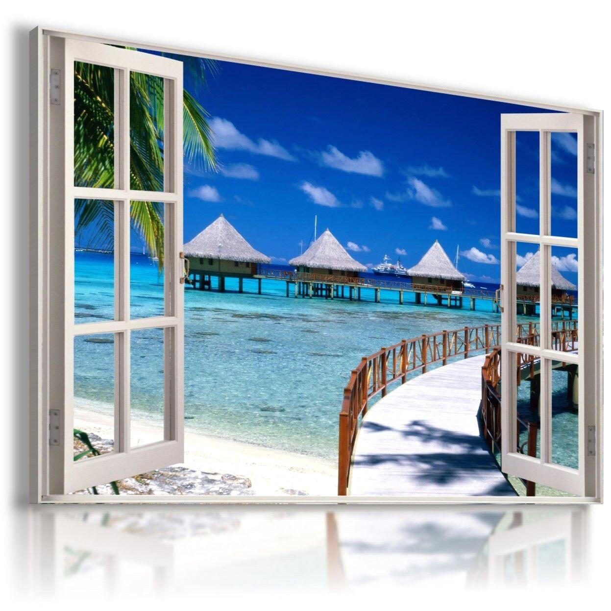 Beach Pier Ocean Thailandia 3D finestra vista a Muro ARTE FOTO W515 mataga