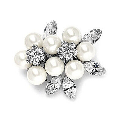 Vintage Style Silver and White Pearl Flower Shaped Wedding Brooches Pin BR220