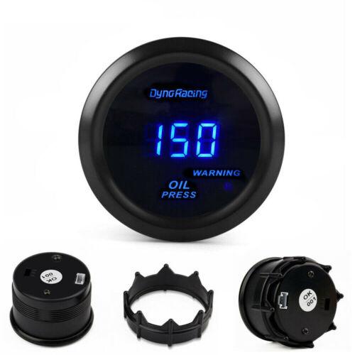 """2/"""" 52mm Blue Digital LED Oil Pressure Gauge Press Meter with Sensor Tint Lens"""