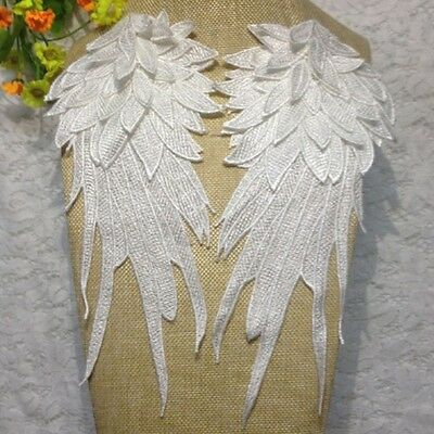 New Embroidery Venise Lace Motif Shoulder Applique Patches White Wings 1 Pair