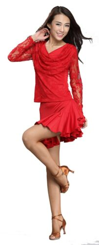 SGT31Red Women Ballroom Smooth Latin Lace Tango Salsa Swing Dance Blouse Top