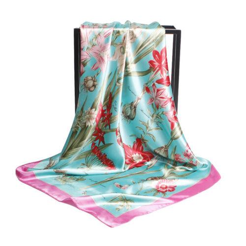 90CM Womens Printed Satin-Silk Scarf Silk Headband Neck Square Wrap Scarf Shawl