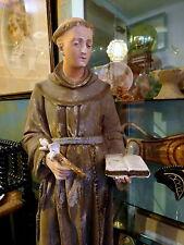 Tall Antique 19th Century Italian Polychrome Chalkware Figure Statue St Anthony