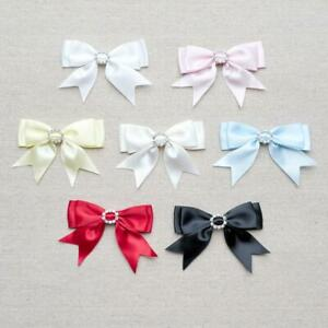 Ribbon-Double-Bows-Small-amp-Large-Ornate-Satin-with-Diamante-Buckle-7-Colours