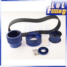 """12A 13B 20B 15mm RX7 FD FC RX3 Gilmer Drive Pulley Kit 1.5"""" notch belt Blue"""