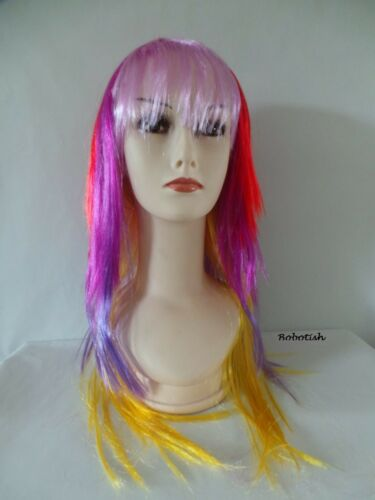 LADY Donne Lunga Parrucca Rocker Costume Multi Colore Dritto Costume partywig