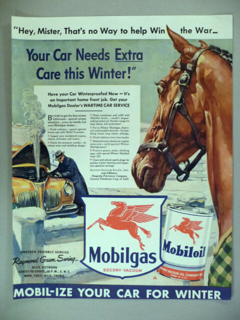 Mobil Gas / Oil PRINT AD - 1942 ~~ flying red horse logo
