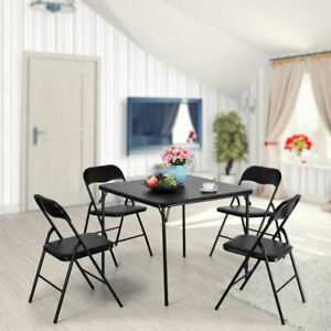 Details About Folding Table And 4 Chairs Dining Set Room Black Commercial Party Outdoor Steel