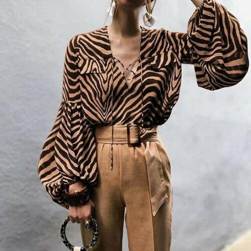 Women Top Female Vintage Leopard Print Blouse Lace Up V Neck Casual Shirt