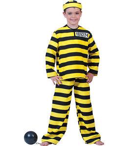 Costume carcerato a righe giallo nero DALTON Tg da 3 a 9 anni
