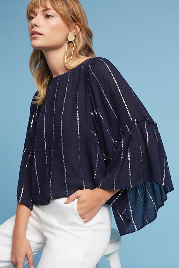 Anthropologie Striped Bell-Sleeve Blouse top NWT new Größe XS