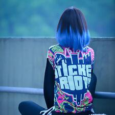 Cosplay Lolita Medium Long Curly Wavy Hair Full Wigs Harajuku Anime Black+Blue