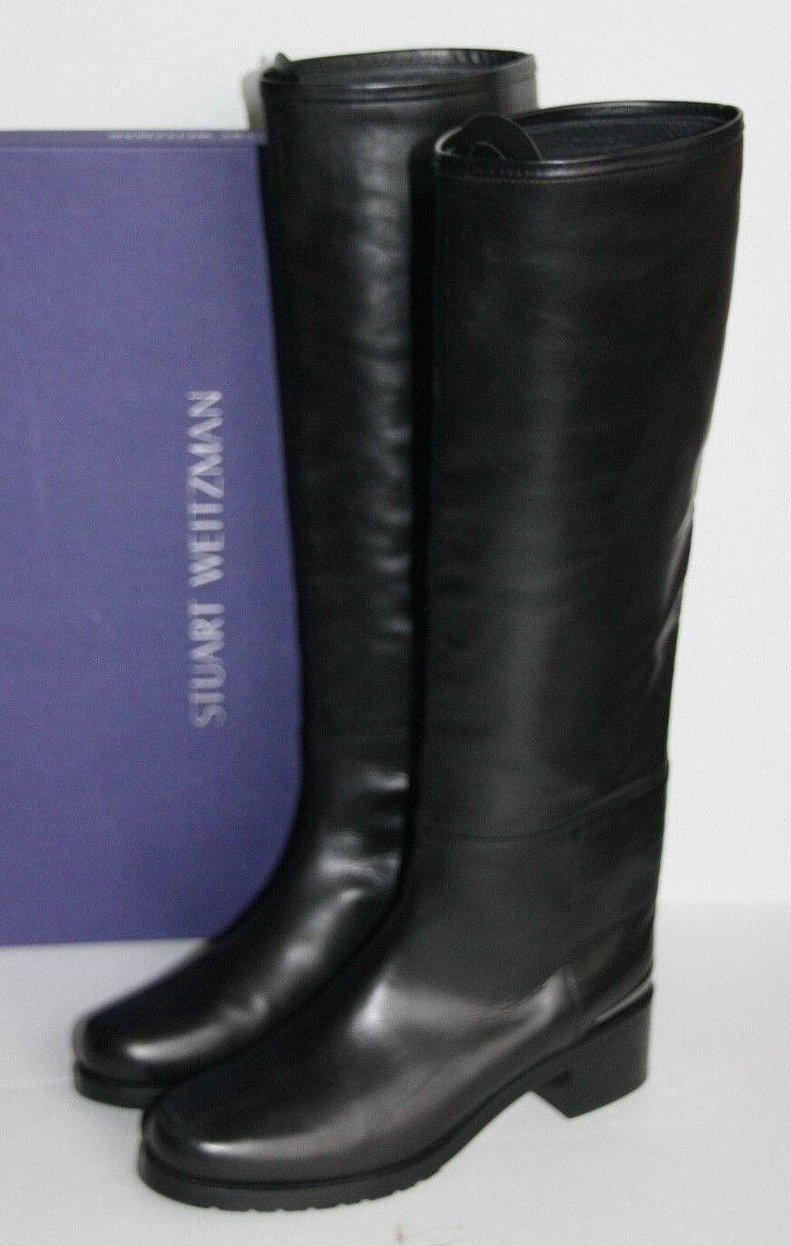 735 Nouveau Stuart Weitzman Cuir Noir Touring Bottes Bout Bout Bout Rond Bottes 38 8 358de9