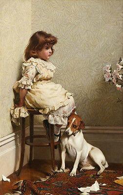 "Huge art Oil Charles Burton Barber In disgrace little girl with her pet dog 36"""