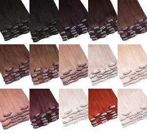 Echthaar-Clip-In-Extensions-dick-Remy-Haarverlaengerung-7-Tressen-Set-Human-Hair