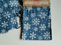 11 Holiday Time Cloth Blue W/ White Snowflakes Christmas Gift Bag Draw String