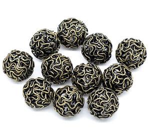 20-Bronze-Tone-Hollow-Twist-Ball-Wire-Beads-18mm