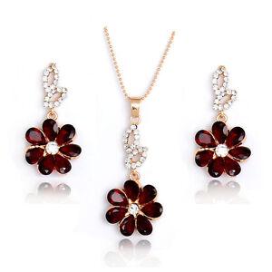 Flower-shape-18k-Gold-Plated-Rhinestone-Lady-039-s-Jewelry-sets-necklace-earrings