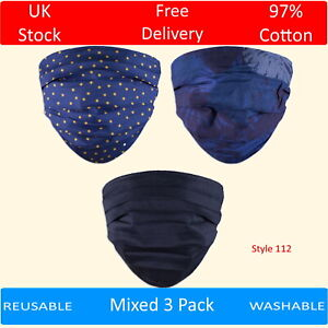 Pack of 3 Cotton Face Masks Washable Patterned Reusable Polka Dots