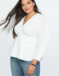 ELOQUII-RUFFLE-SLEEVE-FRONT-BLOUSE-TOP-SHIRT-WHITE-SIZE18-NWT