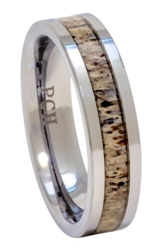 Details about  /Antler Ring Tungsten 6mm Flat Top Men and Women Size 6 to 13 White Tail Deer