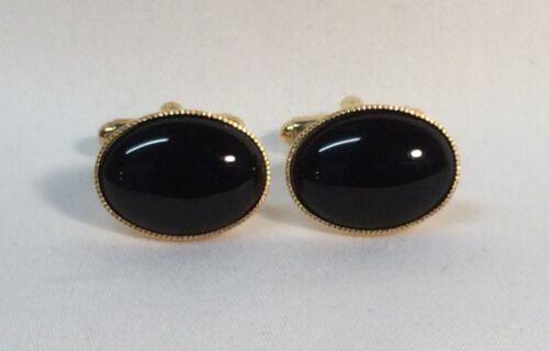 chapado en oro. Gemelos De Ónice Negro forma oval