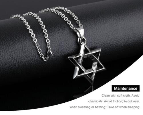Davidstern Anhänger Män Halskette Silber Religiöse Edelstahl Link Kette Schmuck